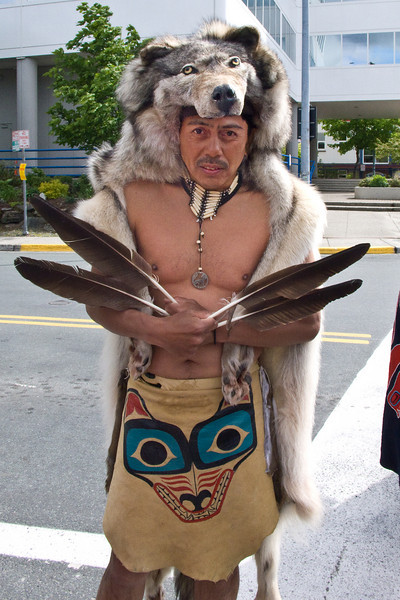 """""""Celebration"""", Native Parade, Juneau 2008. Even though it was a warm 58F today this man was freezing! Eagle feathers! Tlingit, Haida, and Tsimshian tribal members"""