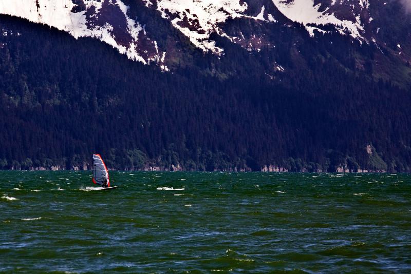 Wind surfer in Alaska