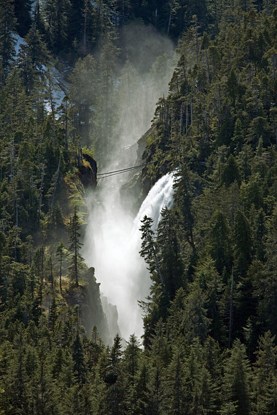 Powerful waterfall in Alaskas Inside passage