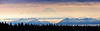Panorama of Mt. Redoubt as seen from high above Homer. Note the eagle flying just above the trees mid foreground. Kenai Alaska