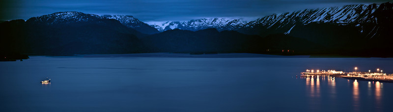 2 AM in the morning on June 21. Photograph of the Homer Spit. Kenai Alaska