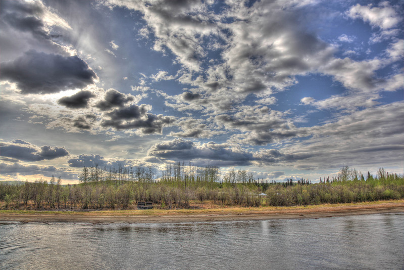 Fairbanks, Alaska cloudy skies over the Chena River.