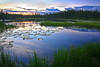 Alaska, Sunset, Wrangell-St Elias National Park, Sunset, Lily Pond Landscape, 阿拉斯加,  兰格尔圣伊莱亚斯国家公园 风景