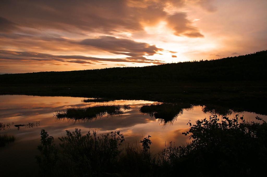 Alaskan sunrise over Potter's Marsh on the outskirts of Anchorage, Alaska.