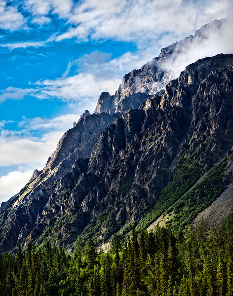 Panorama Mountain near Denali National Park, by the bank of the Nenana River