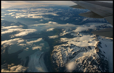 Flying over a glacier's terminus, Alaska