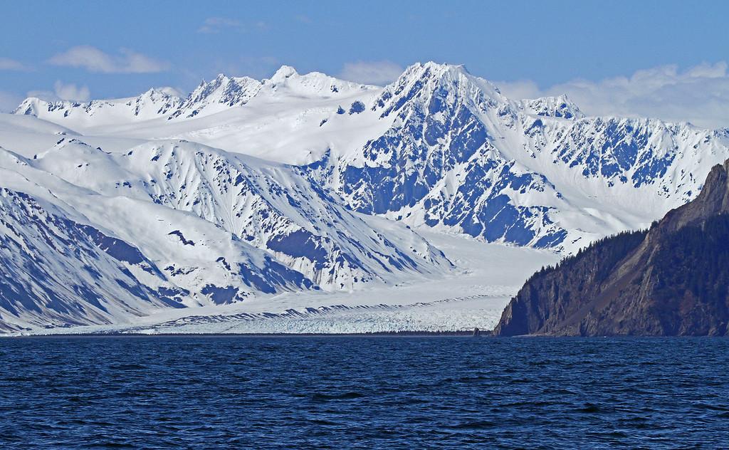 A glacier reaches Resurrection Bay near Seward, Alaska.