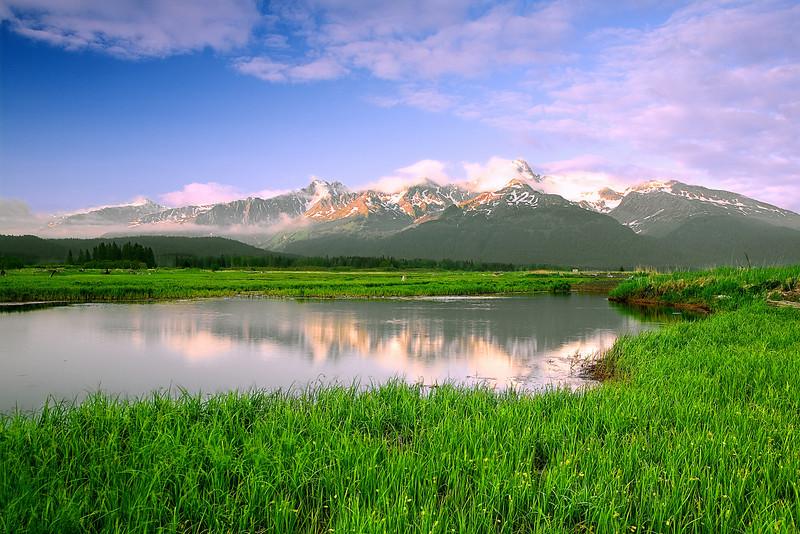 Alaska, Seward, Reflection, Sunset Landscape,  阿拉斯加 风景