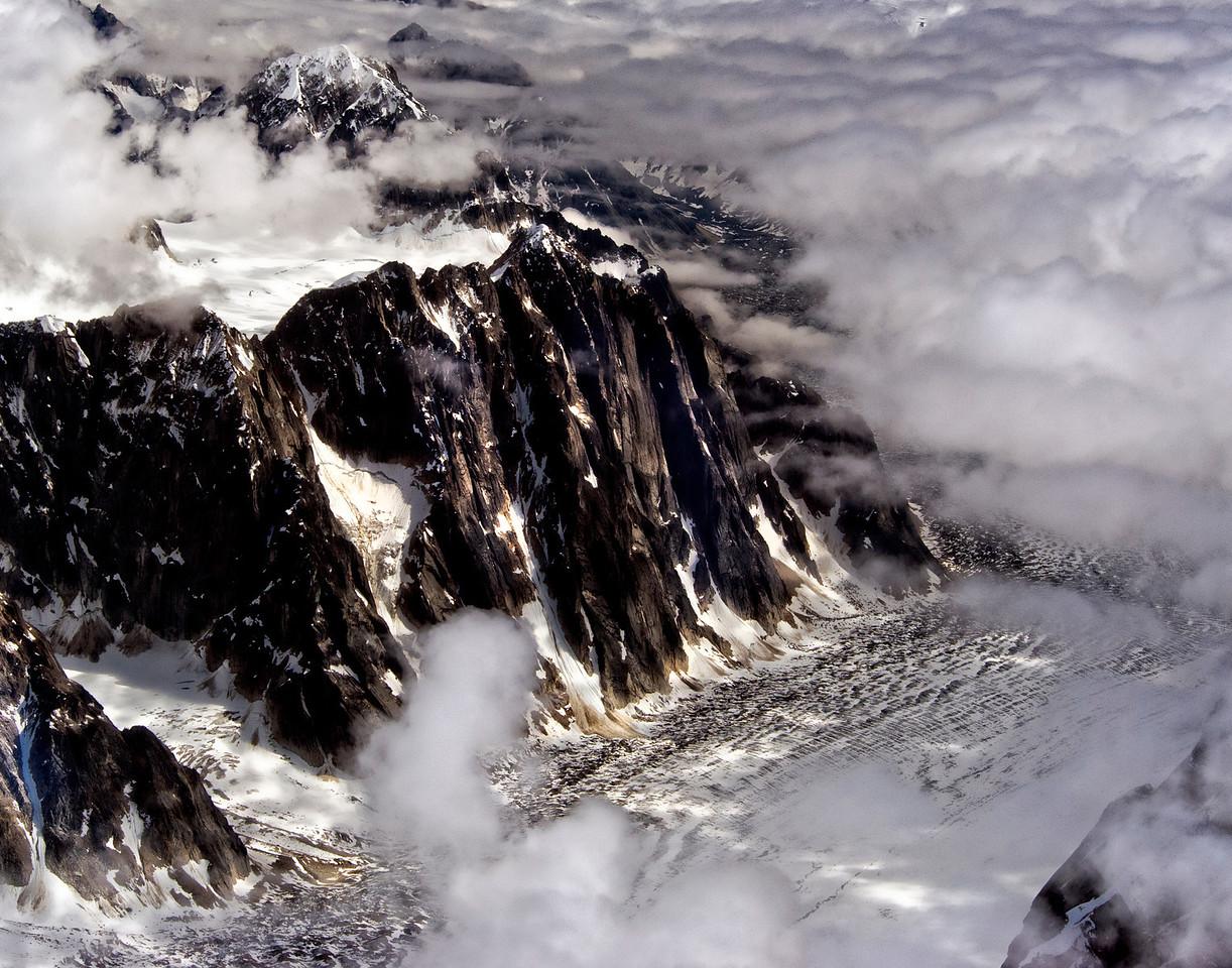 Glacier cutting a curve by Mt McKinley