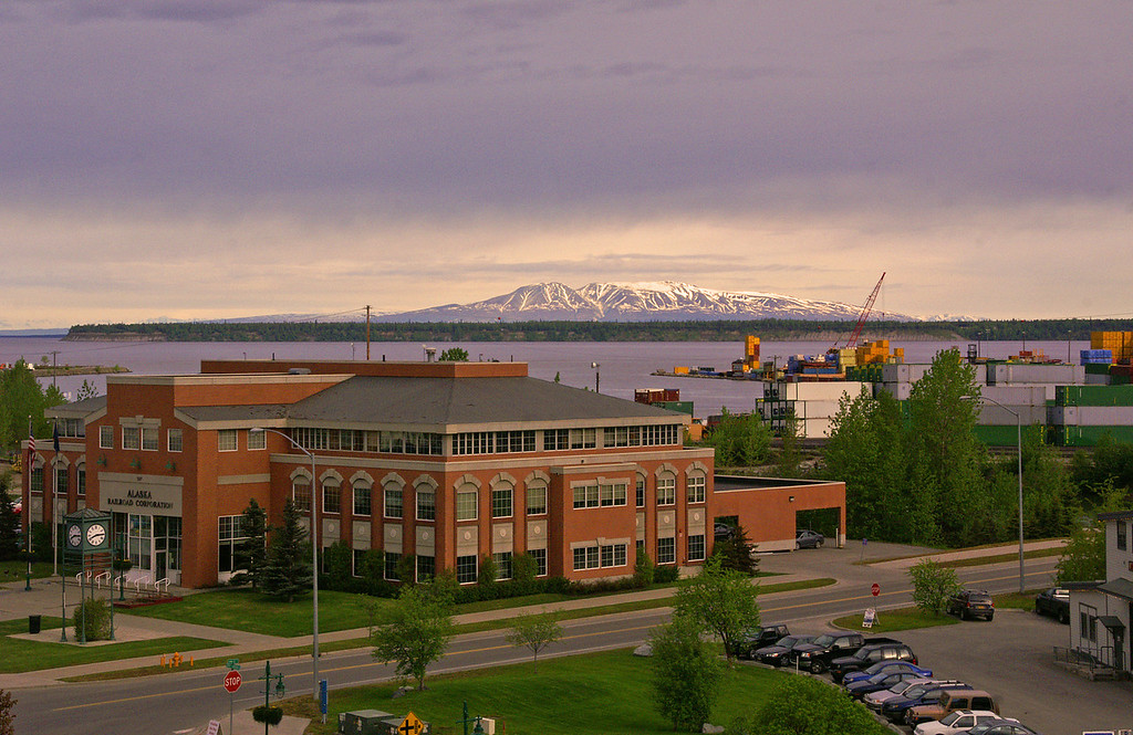 Alaska Railroad's General Office Building overlooks Cook Inlet and Fire Island.