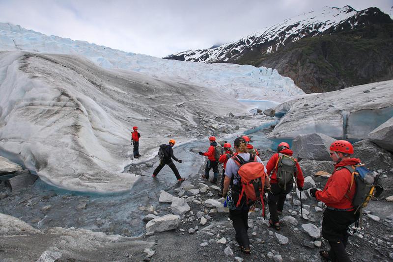 hiking on Mendenhall Glacier
