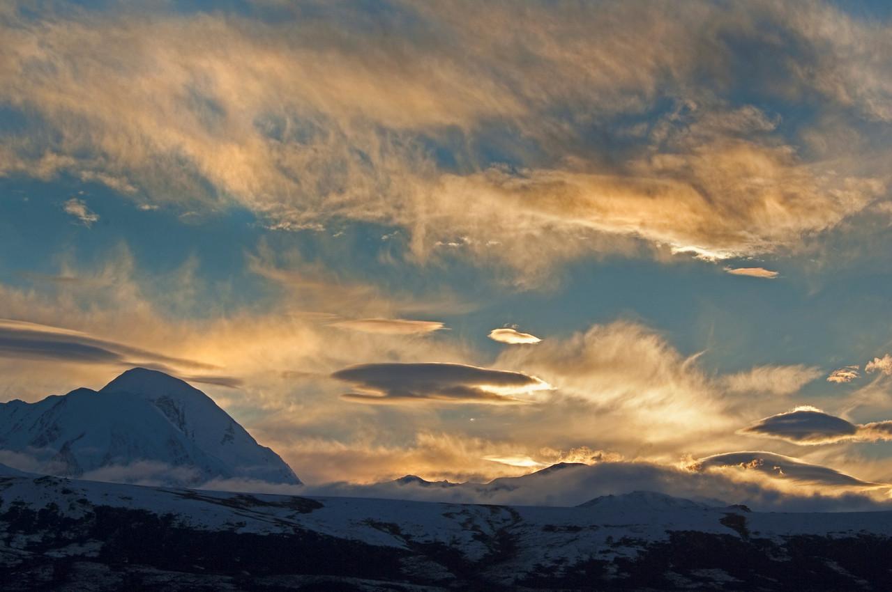 After sunset, Alaska Range over looking the Delta River Valley