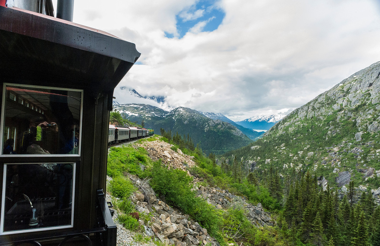 White Pass and Yukon Railroad, well worth your time to take this ascent into the mountains