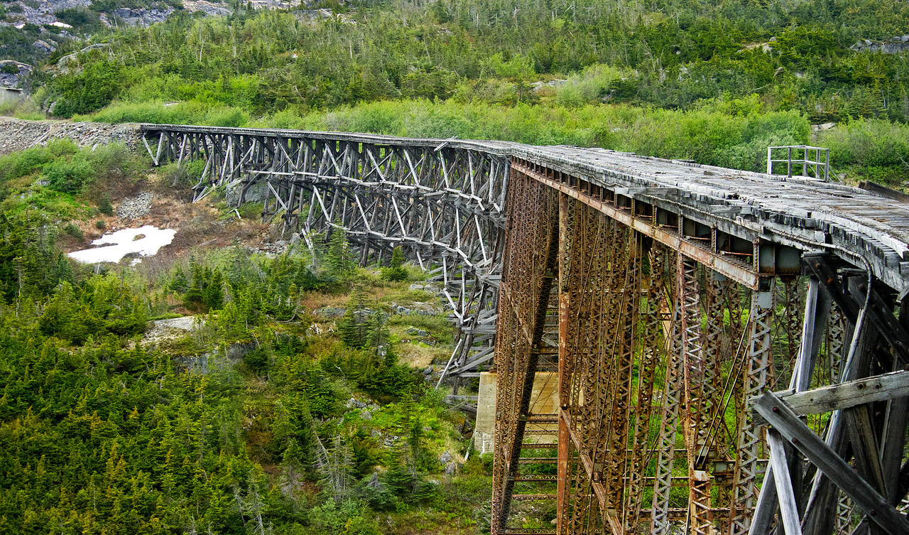 Another view of the bridge spanning Dead Horse Gulch, White, Pass, and, Yukon, Railroad