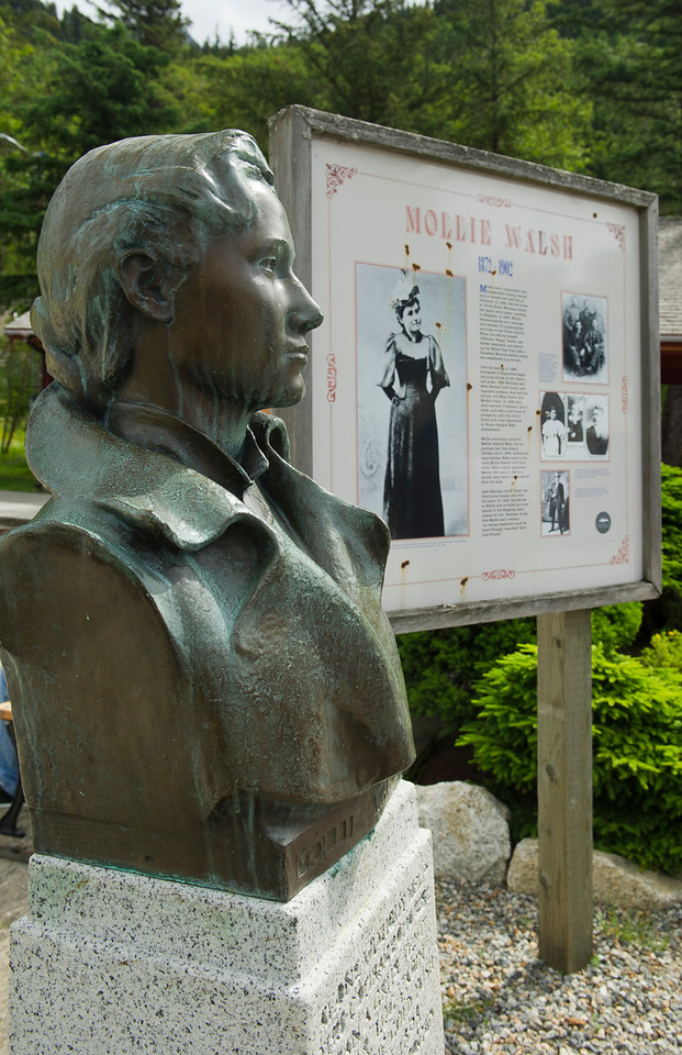 Statue of Mollie Walsh erected in Skagway, AK, a monument to a woman's charm and a man's unrequited love