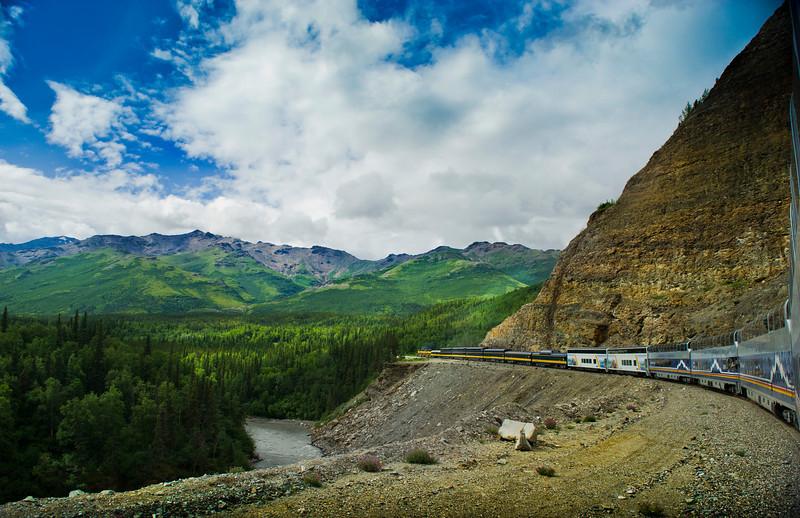Alaska Railroad, Nenana River - Healy Canyon lower center, Denali National Park,