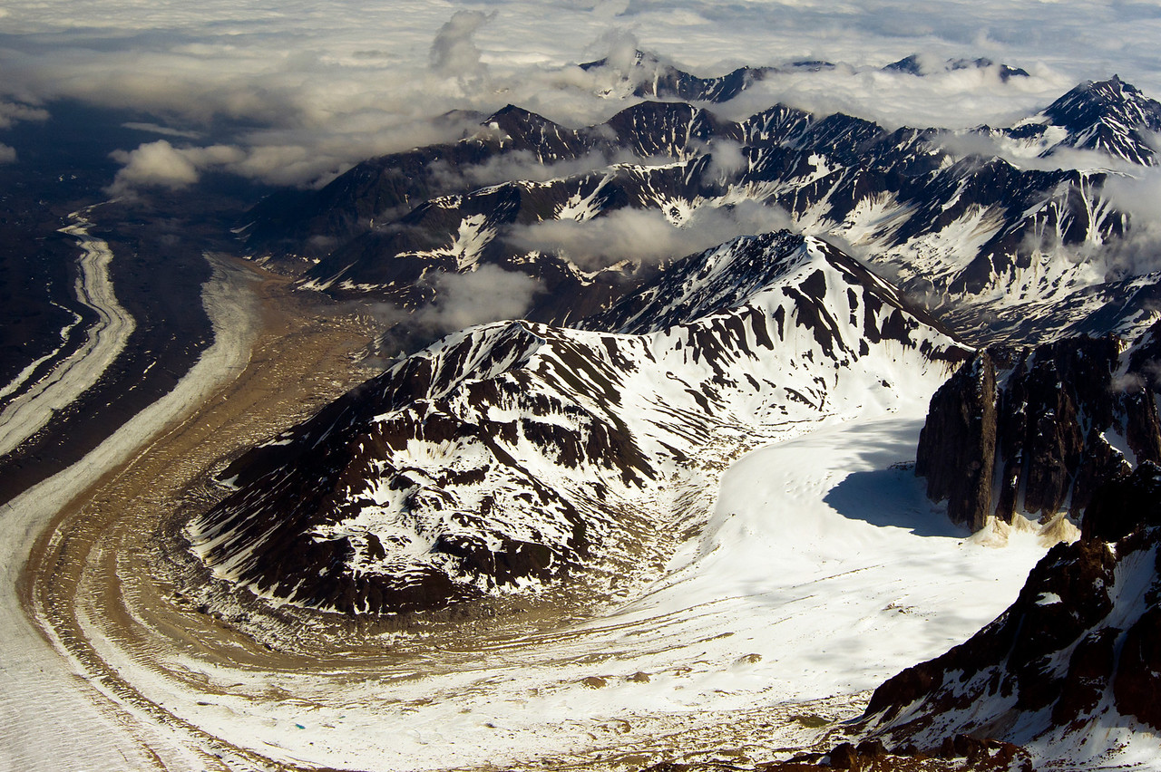 Glacier near the base of Mt McKinley, Alaska Range in background