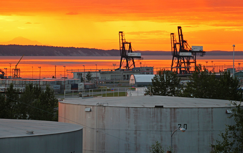 7.14.13: One of the most vivid sunsets I have seen since I arrived in Anchorage. Color slowly changed from bright orange to a deep purple. Viewed from the park overlooking the Port of Anchorage with Cook Inlet and Denali in the background.
