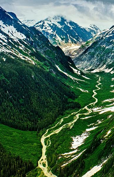 One of the innumerable glacier cut valleys seen on the way to Meade Glacier, Skagway Alaska