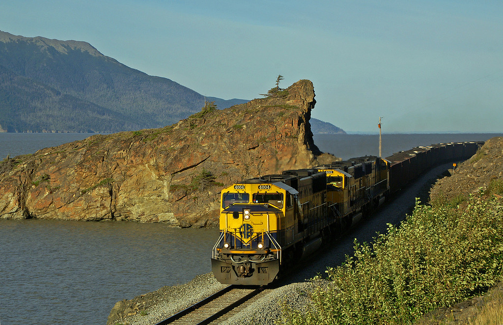 Alaska Railroad coal train along the Turnagain Arm.