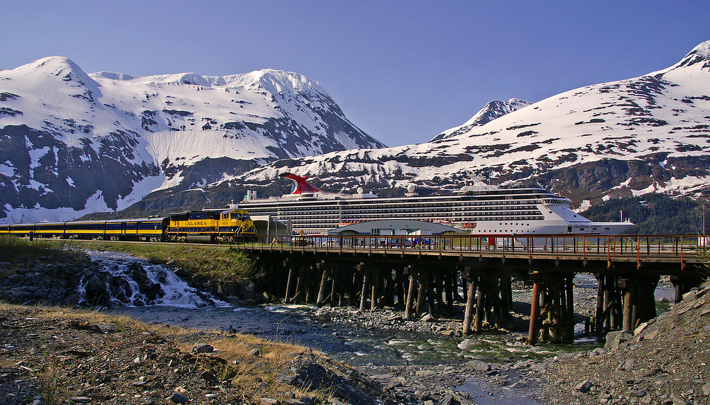I was fortunate to capture a tri-fecta in Whittier, Alaska. The train, cruise ship and a very rare clear day. Whittier only averages about 30 days of sunshine a year.