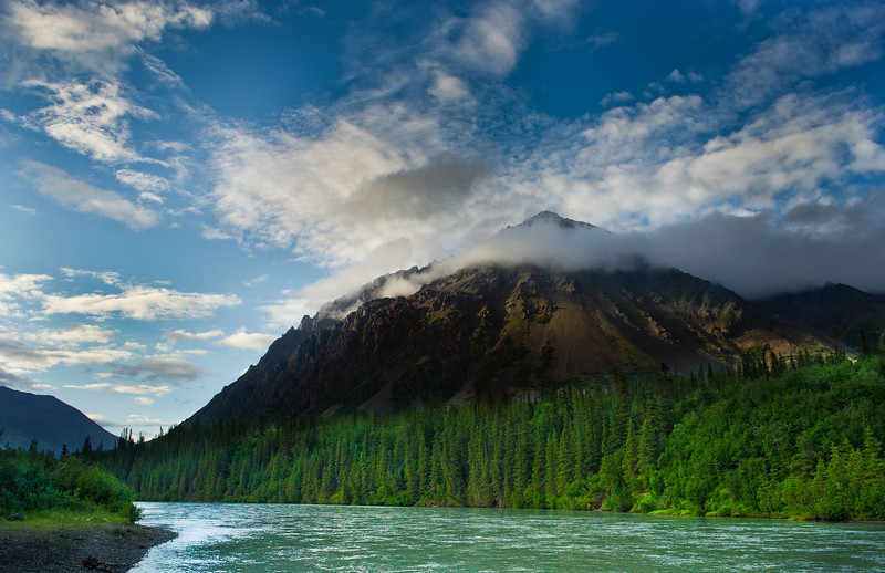 Panorama Mountain >5000ft summit, near the boundary of Denali National Park, Nenana River in foreground