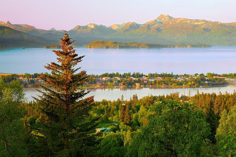 Alaska, Homer, Skyline Drive Overviewing Kachemak Bay, EARLY Morning Landscape, 阿拉斯加 风景