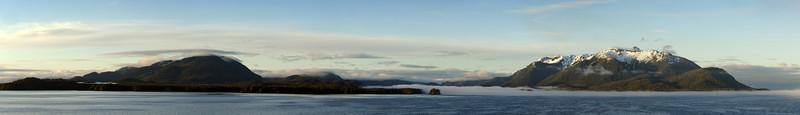 Cruising into Juneau, panorama of several shots