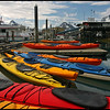 Colorful kayaks at Valdez boat harbor