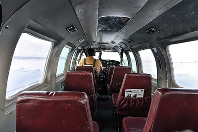 We dropped off 2 passengers and a bunch of boxes at Anaktuvuk. After the pilot installed the seats on the left (where the boxes had been strapped in) we took off again for Coldfoot.