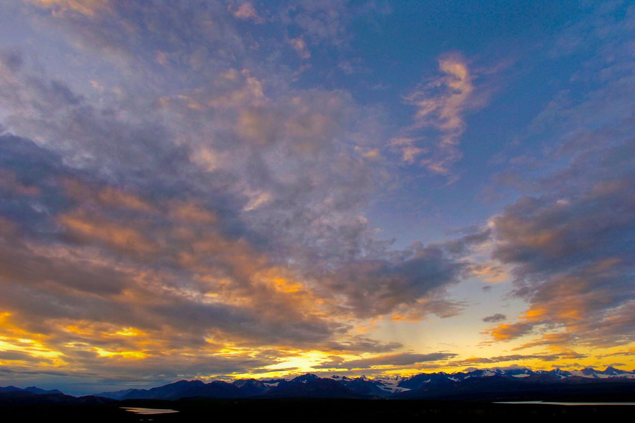 Sunset over the Alaska Range, 9-12 miles west of Paxon, Alaska on the Denali Highway