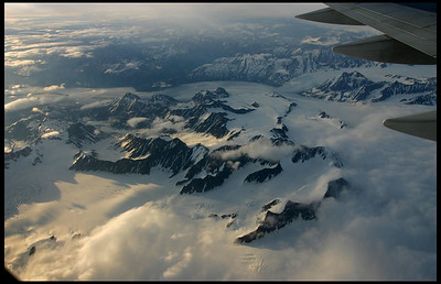 Flying over the icefields, Alaska