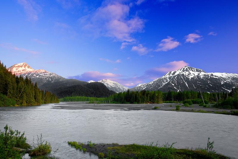 Alaska, Seward, Exit Glacier Road Side View, Sunset Landscape, 拉斯阿加 风景