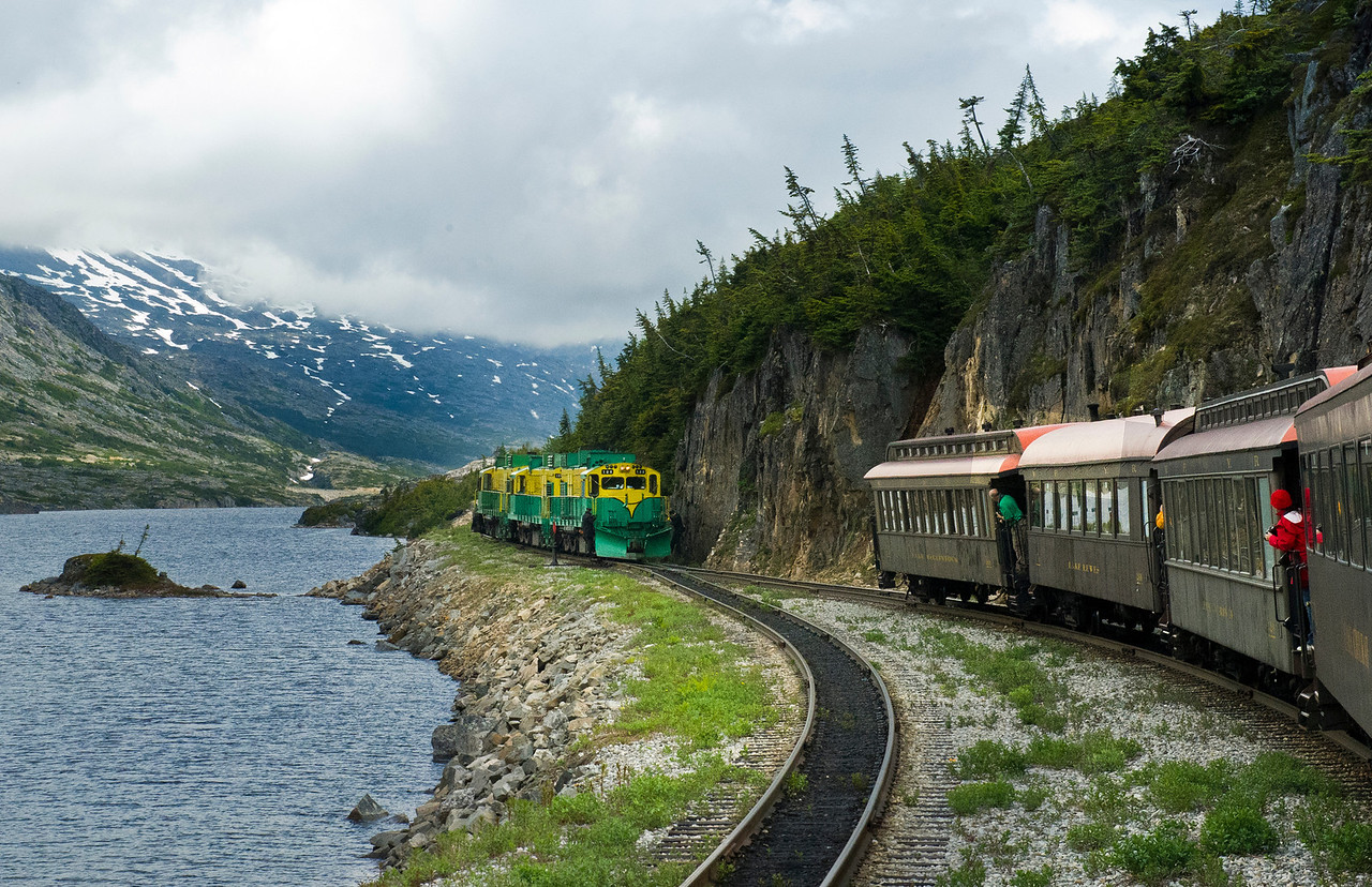 One of the great Railroad rides in the world- the White Pass and Yukon. This narrow gague road (3ft) of steel clings to the mountains chiseled by hard men in the worst of circumstances.