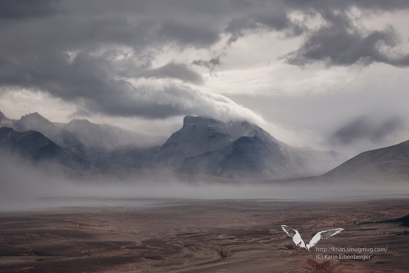 August 2011. Katmai National Park, in the Valley of 10,000 Smokes seen from the north. At the bottom of the valley there are hundreds of feet of ash. It was in the morning, and the clouds and scatters of rain produced this dramatic scenery.