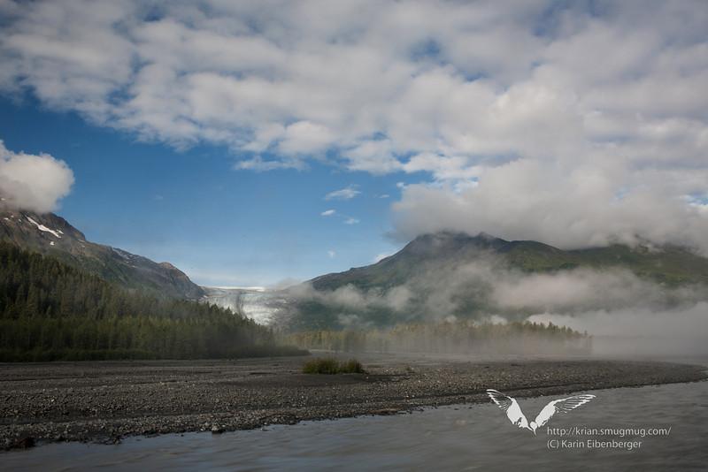 August 2011. Exit Glacier on a warm and sunny weekend in Alaska near Seward, Kenai Fjords National Park.