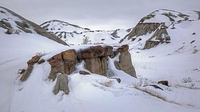 Badlands Park, near Brooks, Alberta in the Winter