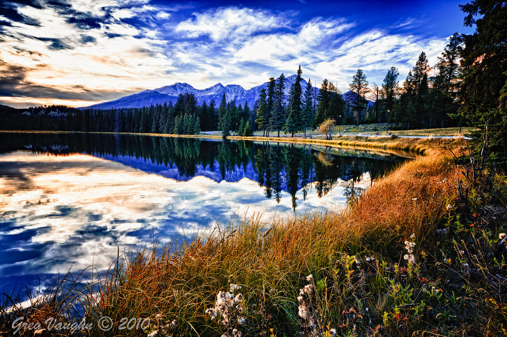 Beauvert Lake at Jasper National Park in Alberta Canada