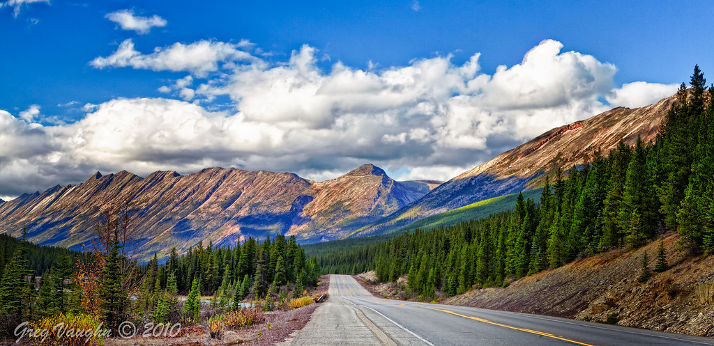View from Icefields Parkway while driving from Jasper to Banff, Alberta, Canada