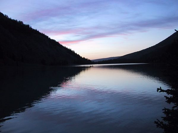 Green River Lakes Sunset<br> Square Top Mountain is off to the left of this view which is looking toward the lake's outlet, which is the start of the Green River.