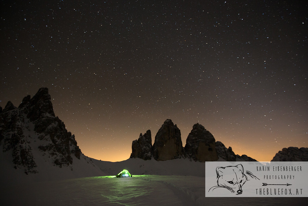 December 30, 2012 - January 1, 2013: Winter hike in the Dolomites Our tent in front of the Tre Cime.