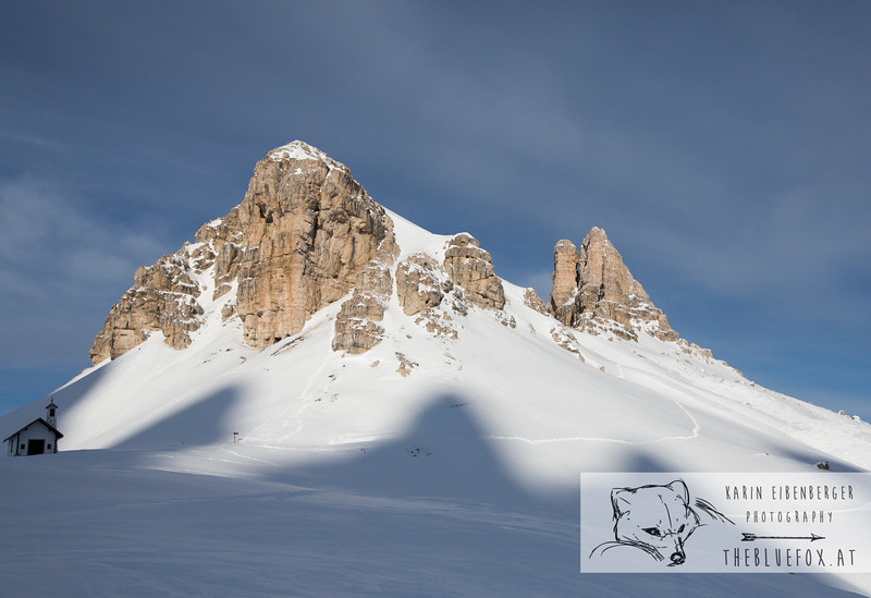 December 30, 2012 - January 1, 2013: Winter hike in the Dolomites<br /> The Toblinger Knoten with the shadow of the Tre Cime.