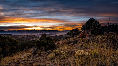 Sunset over the Sangre de Cristo mountains from a hill on Bear Basin Ranch near Westcliffe, Colorado