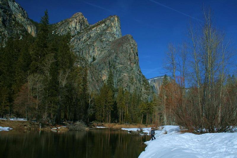 At river's edge, my son Matt helps scale this Merced River scene from Yosemite, February 2008.