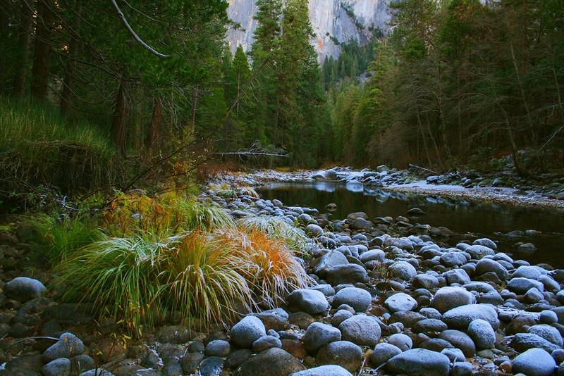 Merced River, Yosemite, Dec 2006  Frost covers the rocks and plants in the river bed
