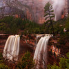 Heavy snow followed by 3 straight days of heavy rains caused this rare scene at Emerald Pools in Zion National Park in December of 2010.  The Park closed for 2 days a day after this photo was taken due to flooding