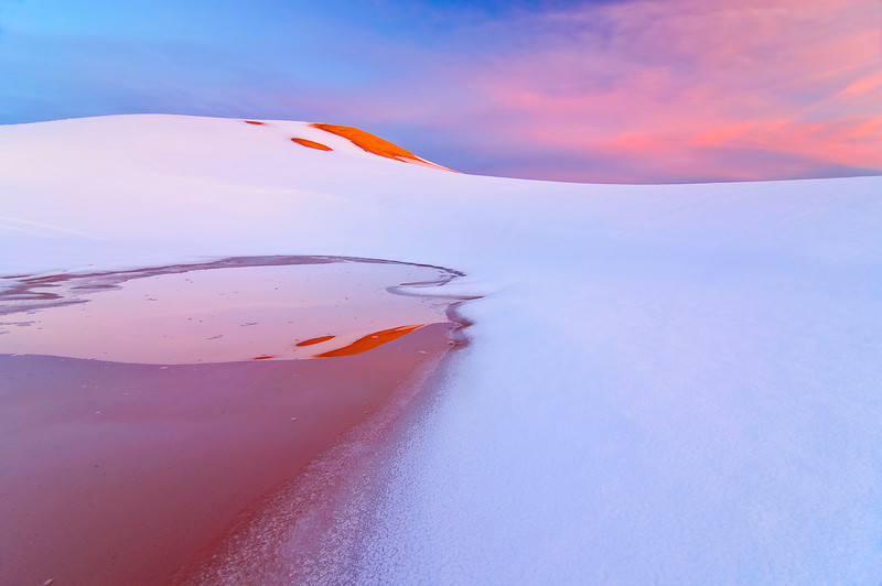 Coral Pink sand dunes after a spring snow storm in southern Utah
