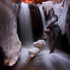 Snow and ice at the upper falls of Kanarra Creek Canyon in southern Utah