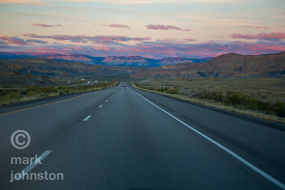 San Rafael Swell at dawn from Interstate 70.