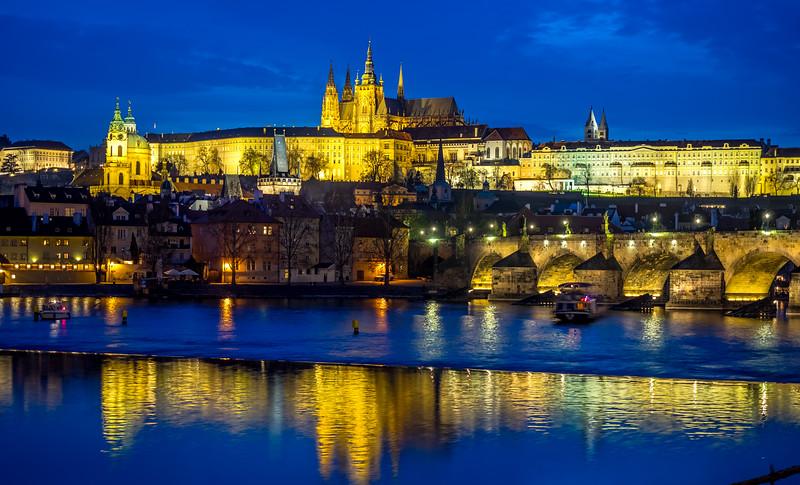 Prague Castle complex and Vltava river